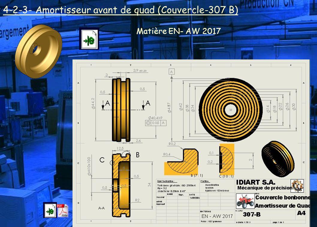 4-2-3- Amortisseur avant de quad (Couvercle-307 B) Matière EN- AW 2017
