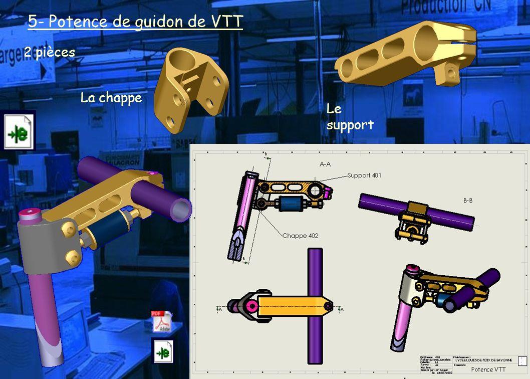 5- Potence de guidon de VTT 2 pièces La chappe Le support