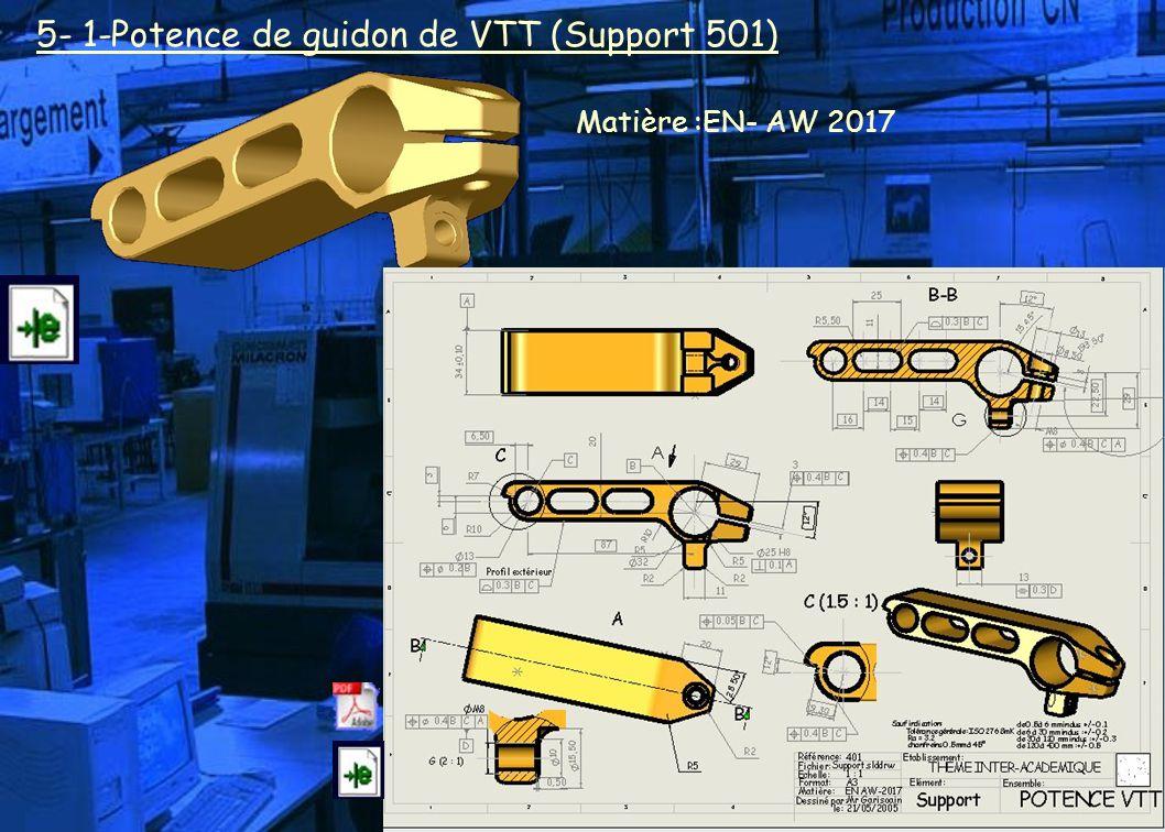 5- 1-Potence de guidon de VTT (Support 501) Matière :EN- AW 2017