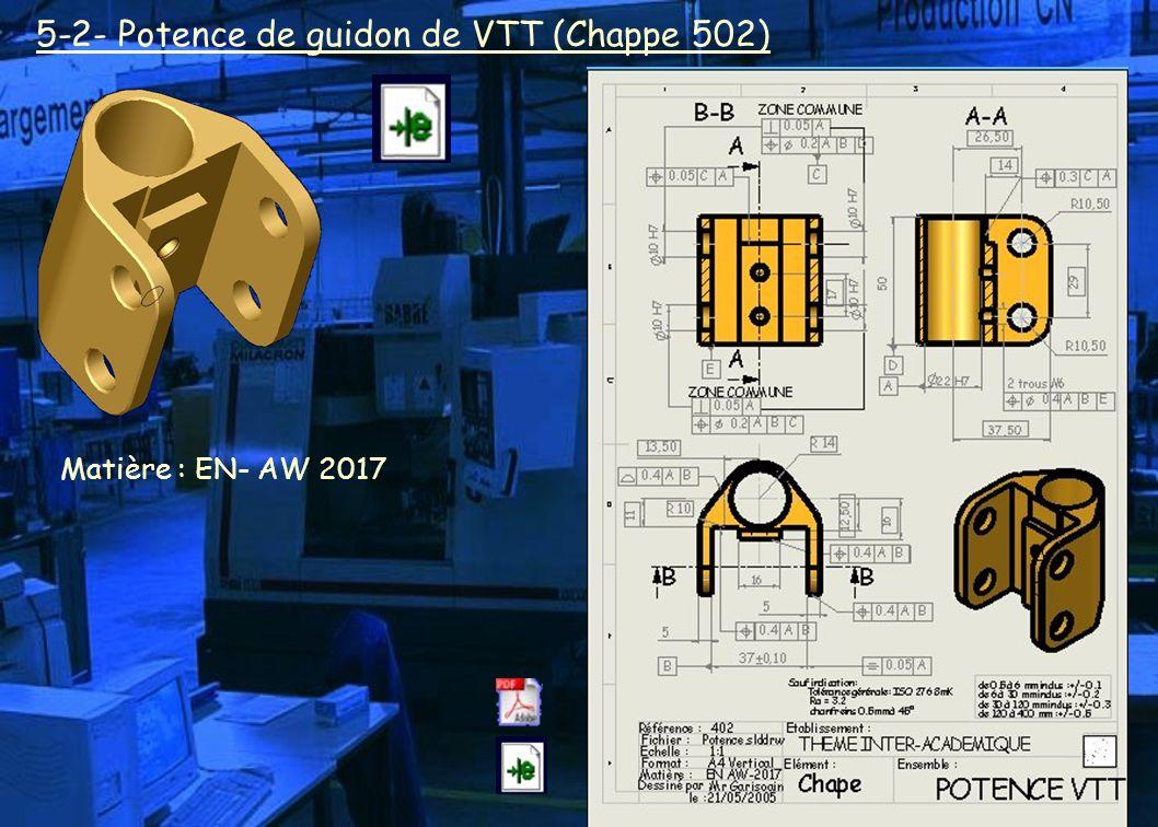 5-2- Potence de guidon de VTT (Chappe 502) Matière : EN- AW 2017