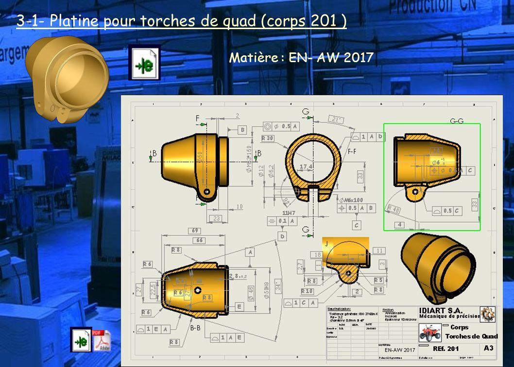 3-1- Platine pour torches de quad (corps 201 ) Matière : EN- AW 2017