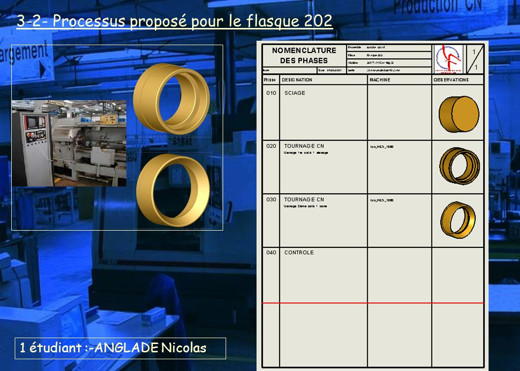 1 étudiant :-ANGLADE Nicolas 3-2- Processus proposé pour le flasque 202
