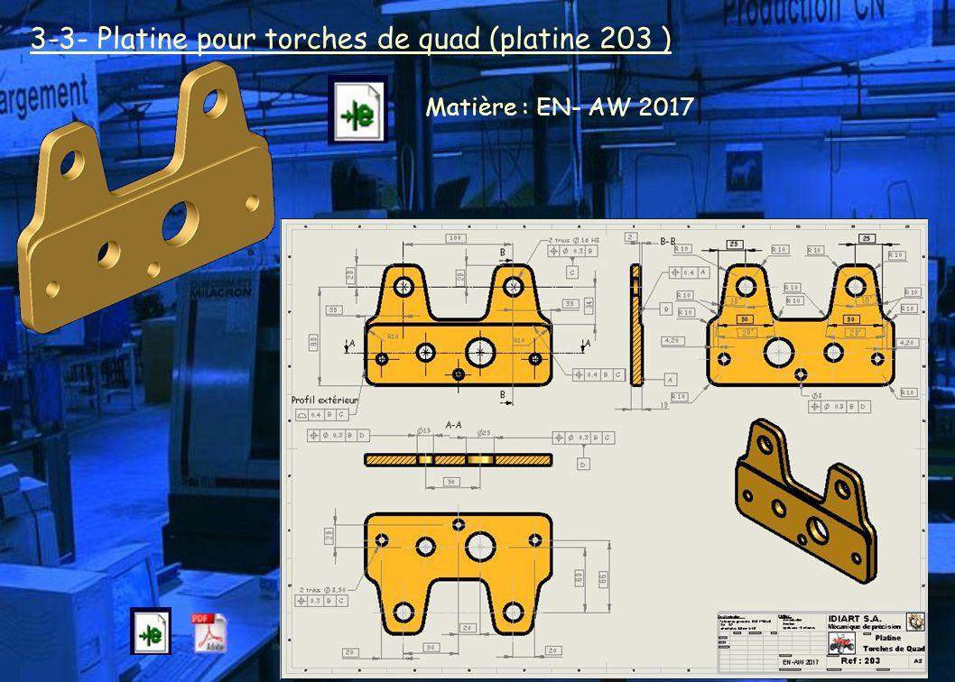 3-3- Platine pour torches de quad (platine 203 ) Matière : EN- AW 2017