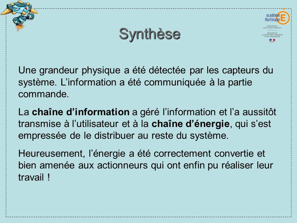 Synthèse Une grandeur physique a été détectée par les capteurs du système. Linformation a été communiquée à la partie commande. La chaîne dinformation