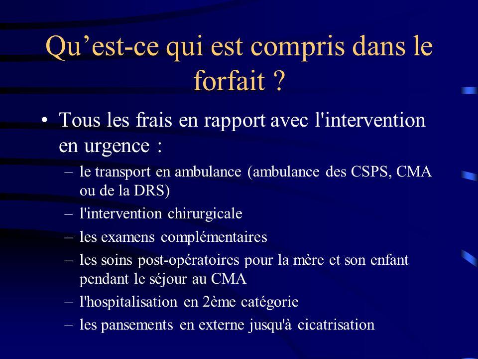 Ce qui nest pas compris les frais de prise en charge au niveau des CSPS avant l évacuation au CMA les traitements liés à une affection chronique l hospitalisation en 1ère catégorie (surplus de 5.000 CFA) les frais de transport en taxi et en voitures privées