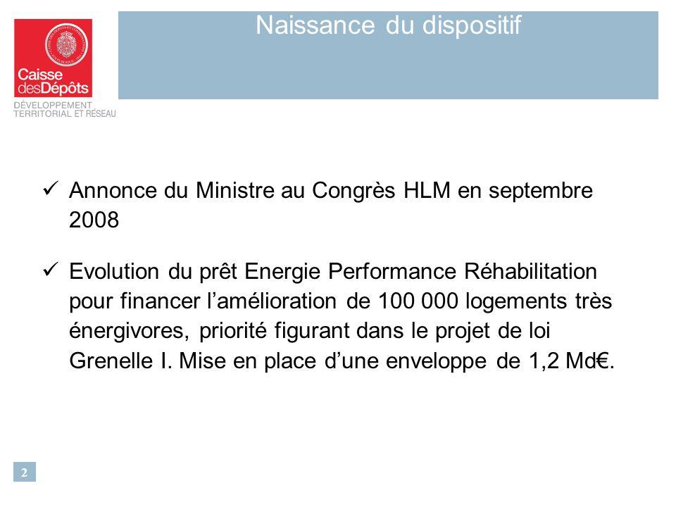 Annonce du Ministre au Congrès HLM en septembre 2008 Evolution du prêt Energie Performance Réhabilitation pour financer lamélioration de 100 000 logements très énergivores, priorité figurant dans le projet de loi Grenelle I.