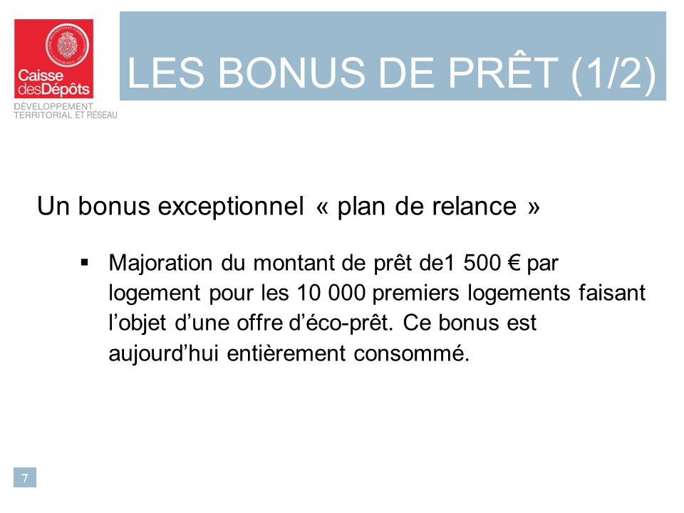 Un bonus exceptionnel « plan de relance » Majoration du montant de prêt de1 500 par logement pour les 10 000 premiers logements faisant lobjet dune offre déco-prêt.