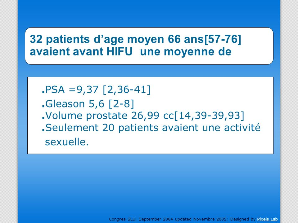Congres SLU, September 2004 updated Novembre 2005; Designed by Pixels-LabPixels-Lab 32 patients dage moyen 66 ans[57-76] avaient avant HIFU une moyenn