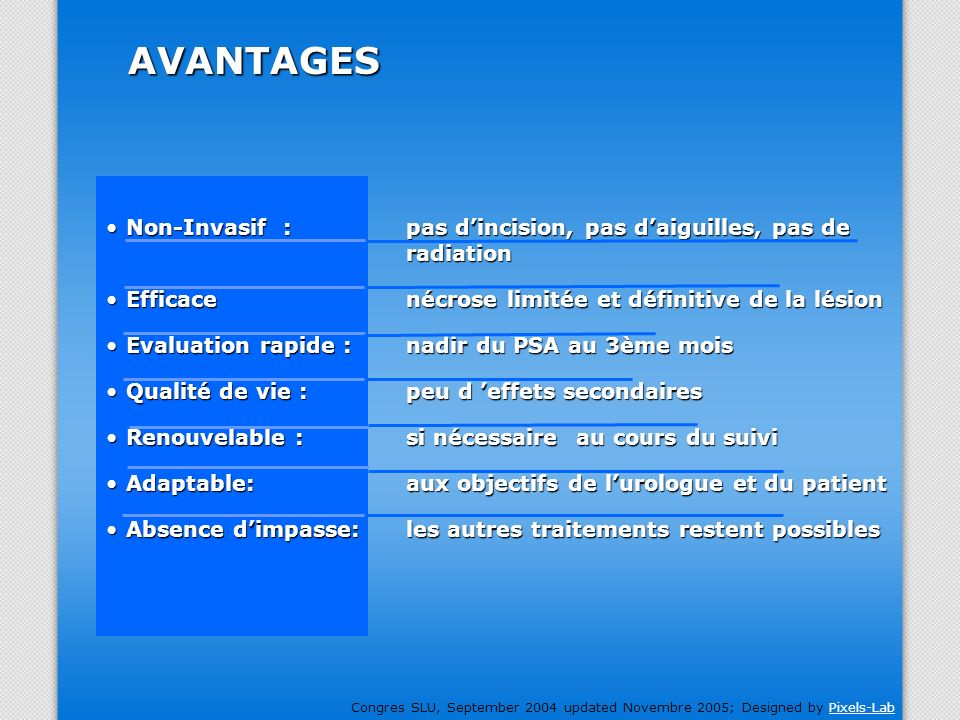 Congres SLU, September 2004 updated Novembre 2005; Designed by Pixels-LabPixels-Lab Non-Invasif :pas dincision, pas daiguilles, pas de radiationNon-In