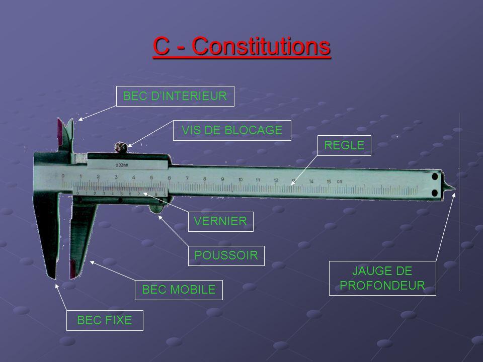 Un calibre à coulisse est caractérisé par: a) la longueur de sa règle b) la précision de son vernier c) la forme de ses becs d) ses accessoires e) sa matière Différentes utilisations du calibre à coulisse: