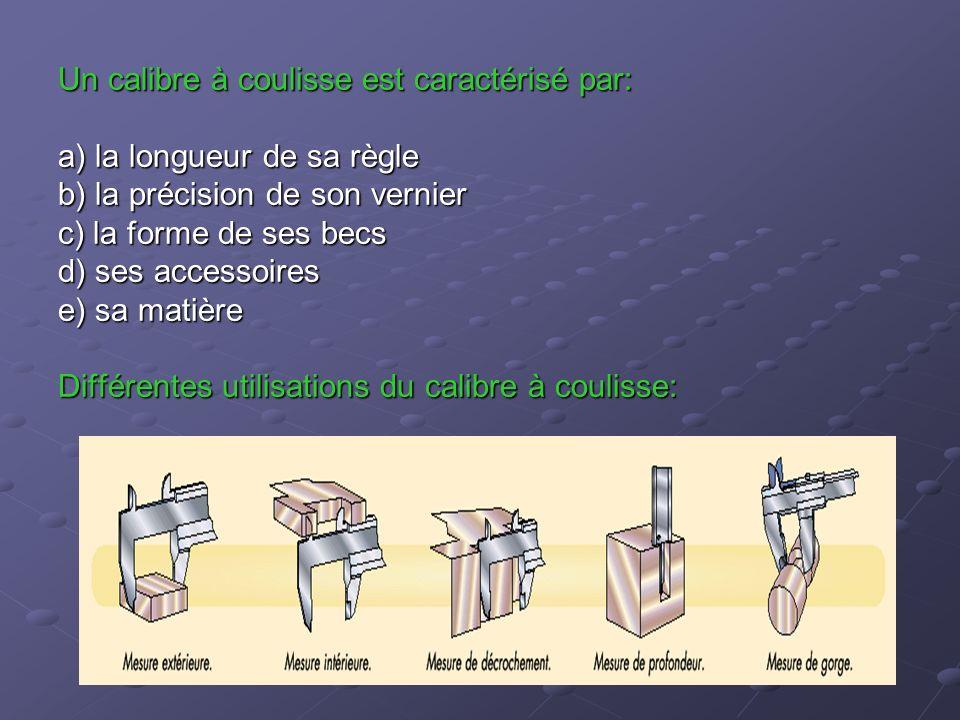 Un calibre à coulisse est caractérisé par: a) la longueur de sa règle b) la précision de son vernier c) la forme de ses becs d) ses accessoires e) sa