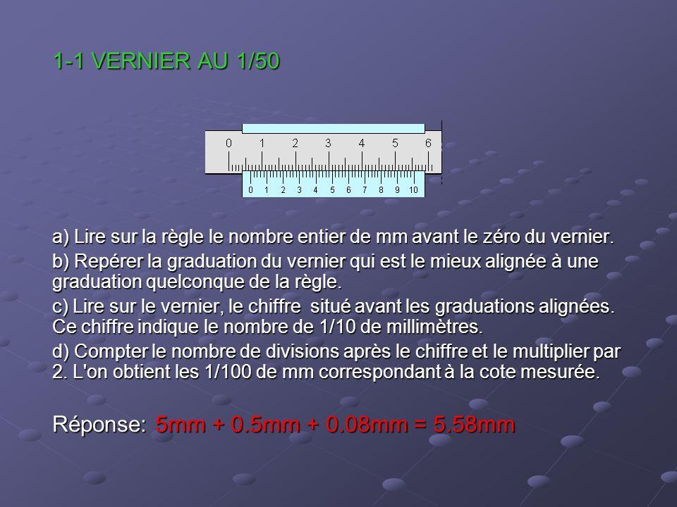 1-1 VERNIER AU 1/50 a) Lire sur la règle le nombre entier de mm avant le zéro du vernier. b) Repérer la graduation du vernier qui est le mieux alignée