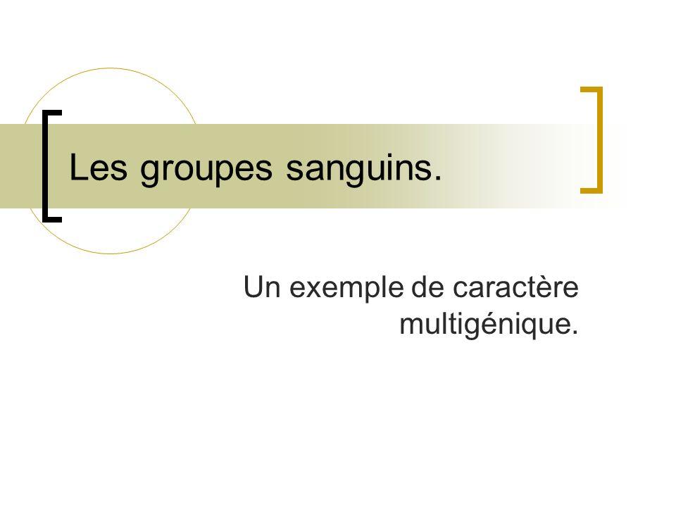 Les groupes sanguins. Un exemple de caractère multigénique.
