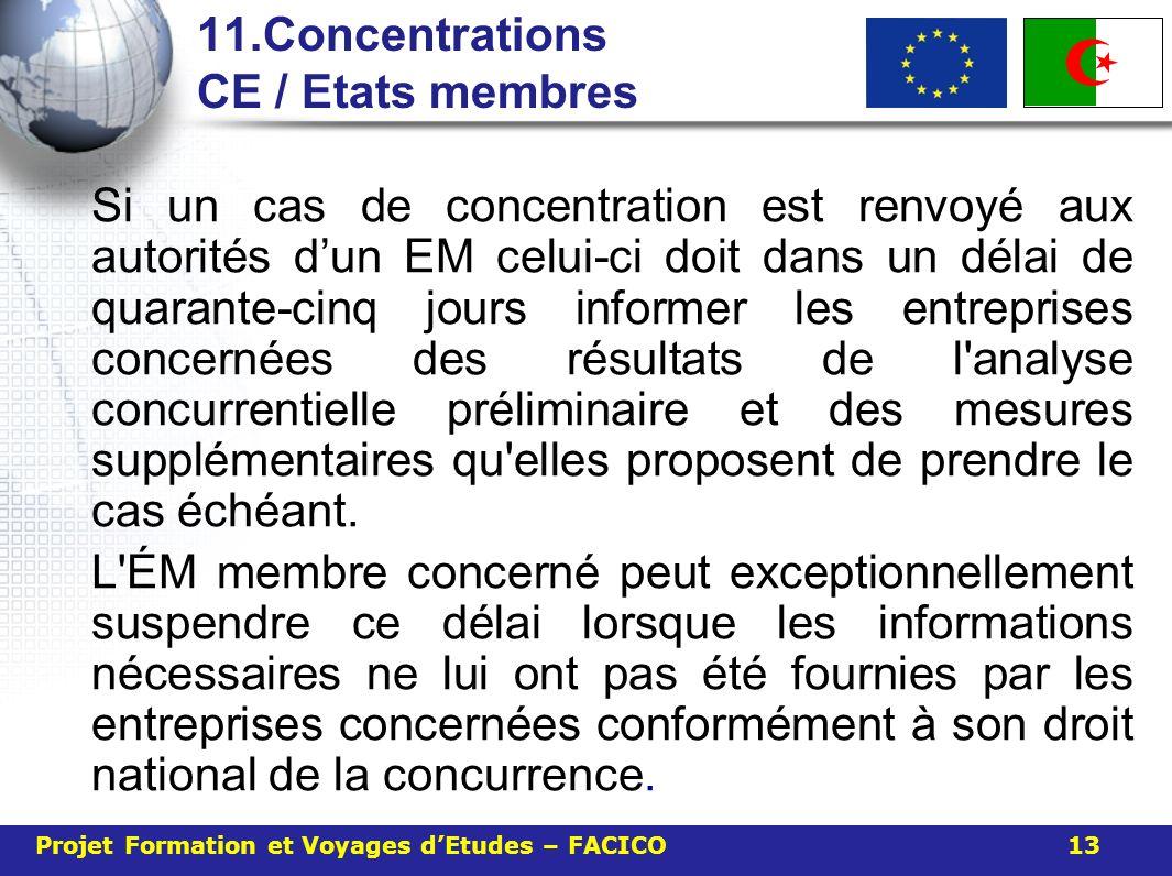 11.Concentrations CE / Etats membres Si un cas de concentration est renvoyé aux autorités dun EM celui-ci doit dans un délai de quarante-cinq jours in