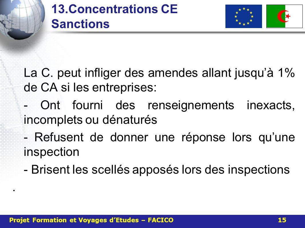 13.Concentrations CE Sanctions La C. peut infliger des amendes allant jusquà 1% de CA si les entreprises: - Ont fourni des renseignements inexacts, in