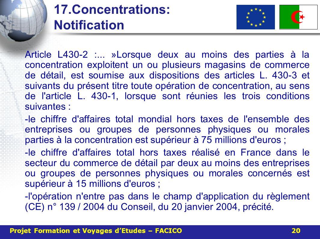 17.Concentrations: Notification Article L430-2 :... » Lorsque deux au moins des parties à la concentration exploitent un ou plusieurs magasins de comm