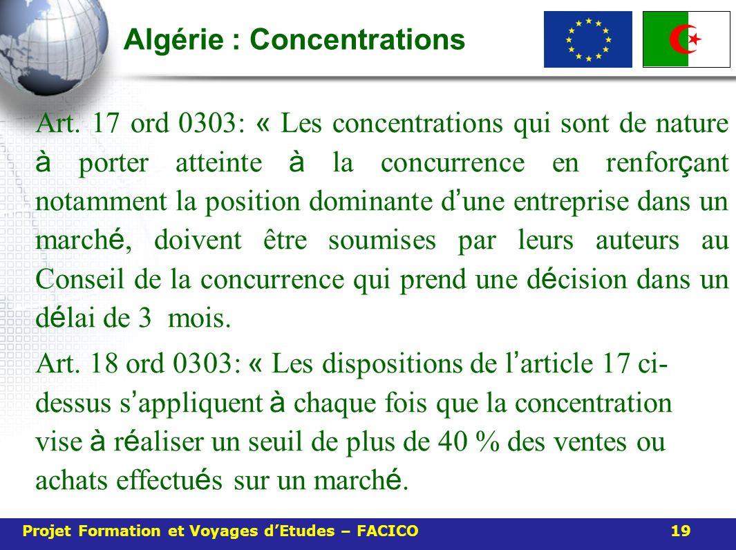 Algérie : Concentrations Art. 17 ord 0303: « Les concentrations qui sont de nature à porter atteinte à la concurrence en renfor ç ant notamment la pos