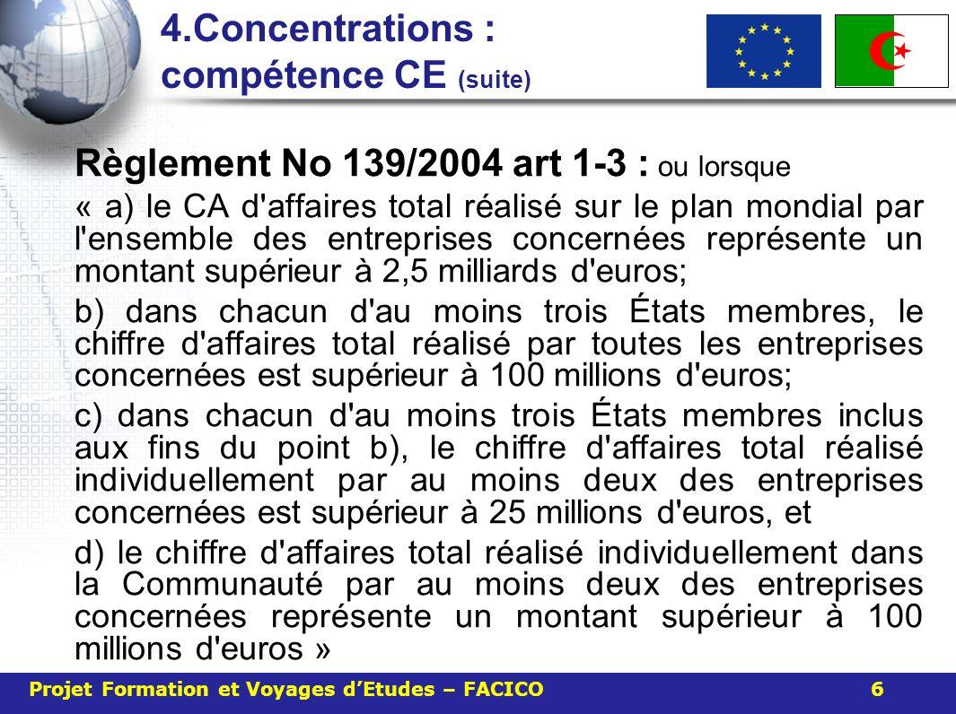 4.Concentrations : compétence CE (suite) Règlement No 139/2004 art 1-3 : ou lorsque « a) le CA d'affaires total réalisé sur le plan mondial par l'ense