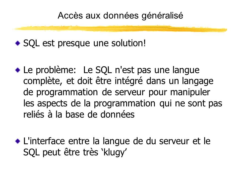 Accès aux données généralisé Les objets ADO ( Activex Data Objects ) sont la réponse de Microsofts à l accès universel de données - au moins pour toutes leurs langues Les ADO isolent le programmeur des détails d exécution de base de données, et vous permettent d employer autant ou peu de SQL que vous désirez (principalement dans le paramètre de source ADO)