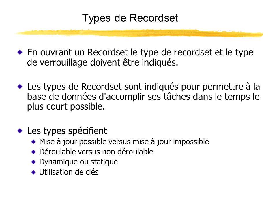 Types de Recordset En ouvrant un Recordset le type de recordset et le type de verrouillage doivent être indiqués. Les types de Recordset sont indiqués