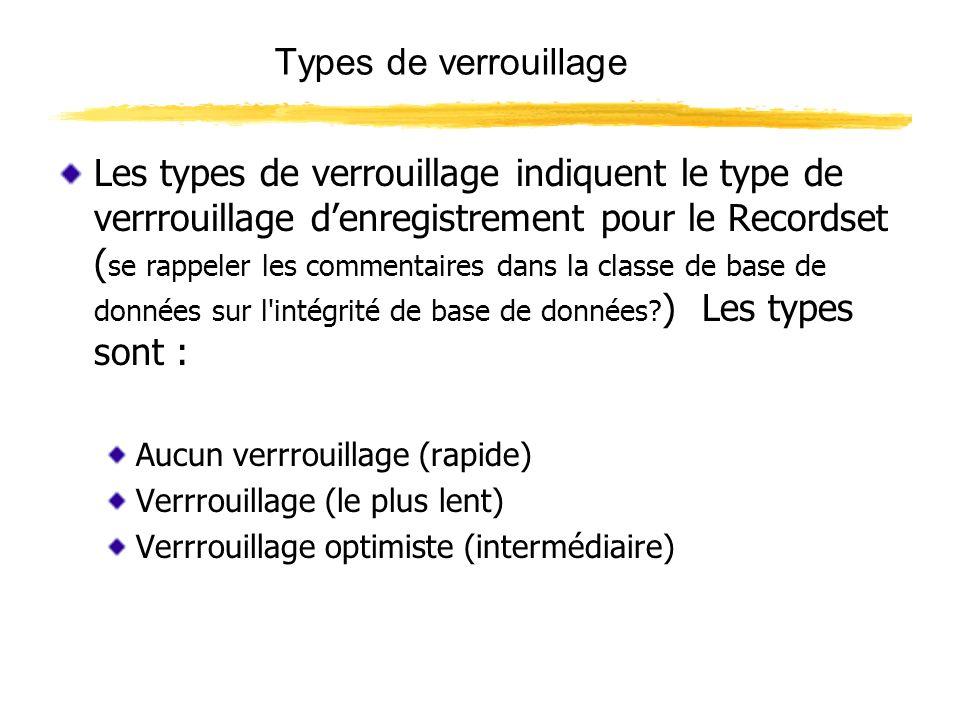 Types de verrouillage Les types de verrouillage indiquent le type de verrrouillage denregistrement pour le Recordset ( se rappeler les commentaires da