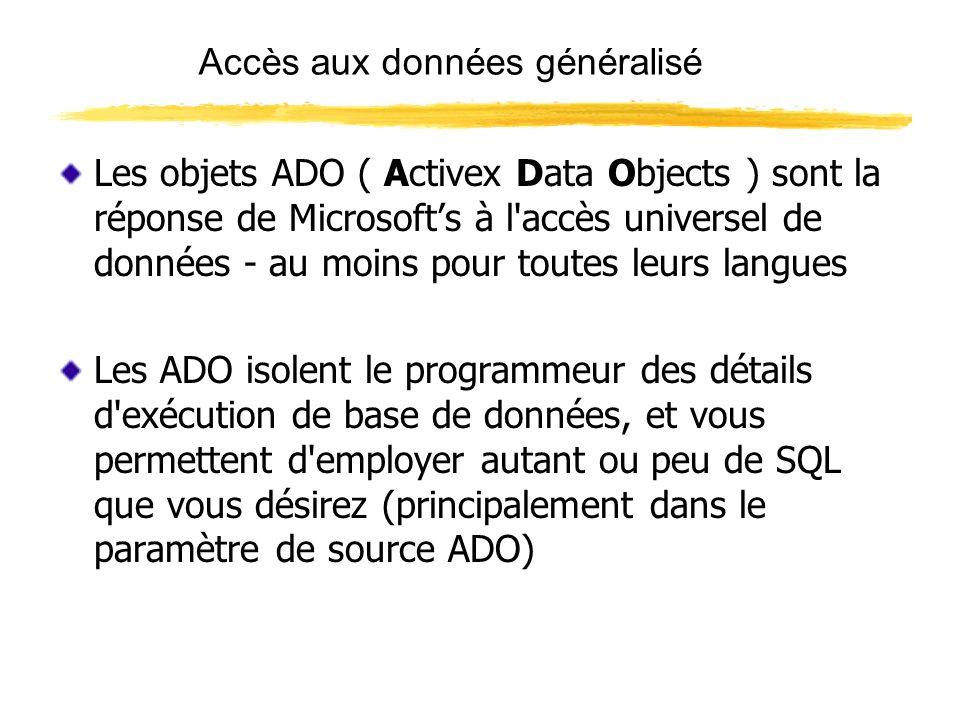 Les bases ADO ADO est basé sur un modèle d objet Les deux objets les plus importants sont: CONNECTION Une connection doit être établie avec la base de données avant quelle puisse être consultée.