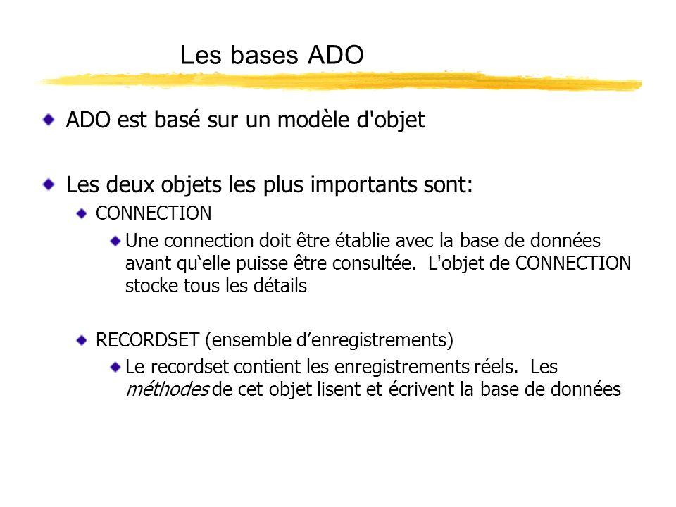 Les bases ADO ADO est basé sur un modèle d'objet Les deux objets les plus importants sont: CONNECTION Une connection doit être établie avec la base de