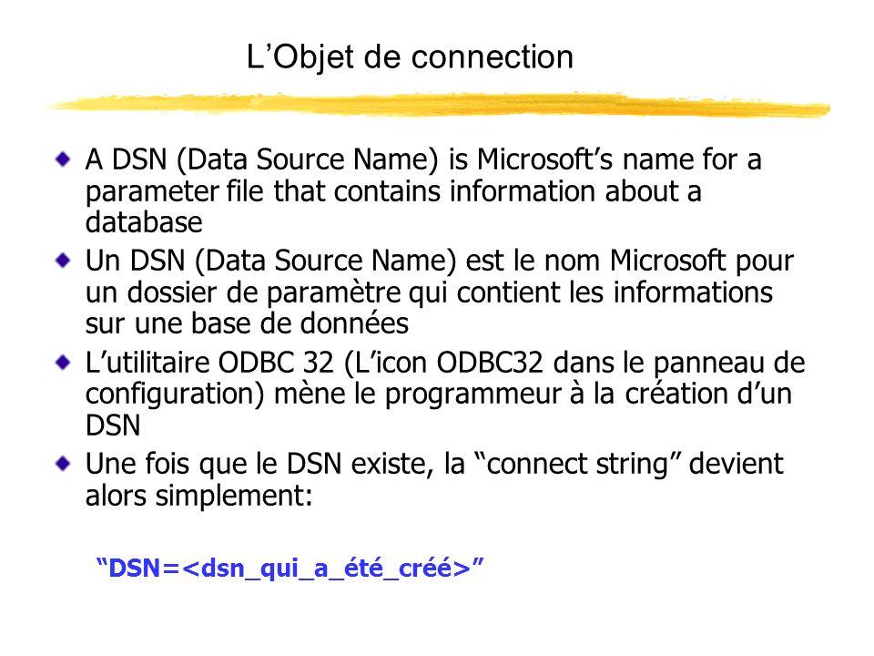 Lobjet RECORDSET L objet RECORDSET peut être vu comme fenêtre coulissante de la taille dun enregistrement dans la base de données La fenêtre recordset se déplace à travers la page de base de données offrant un enregistrement à la fois