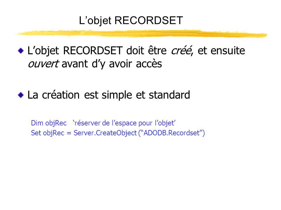 Lobjet RECORDSET Louverture dun recordset exige le nom de l objet de connection, et quelques paramètres objRec.Open Contact, objConn, 0, 1, 2 Appeler la méthode Open Nommer le recordset Indiquer le nom de la connection Paramètres indiquant le type daccès, ex : Lecture seulement, Ecriture seulement, etc.