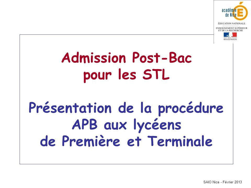 SAIO Nice - Février 2013 Admission Post-Bac pour les STL Présentation de la procédure APB aux lycéens de Première et Terminale