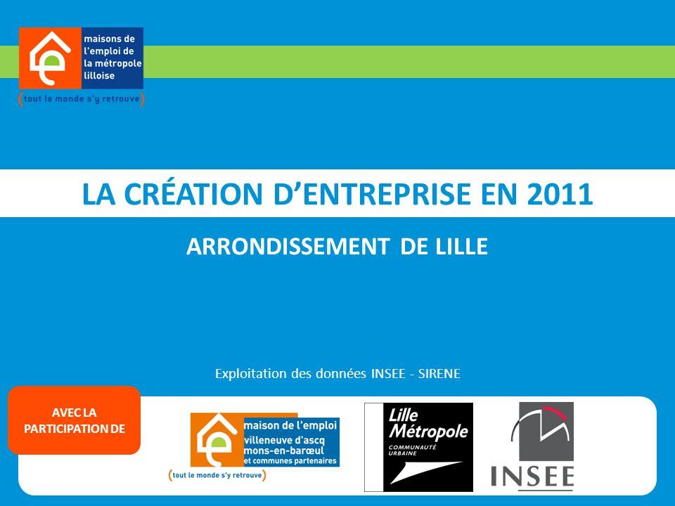 LA CRÉATION DENTREPRISE EN 2011 ARRONDISSEMENT DE LILLE Exploitation des données INSEE - SIRENE AVEC LA PARTICIPATION DE