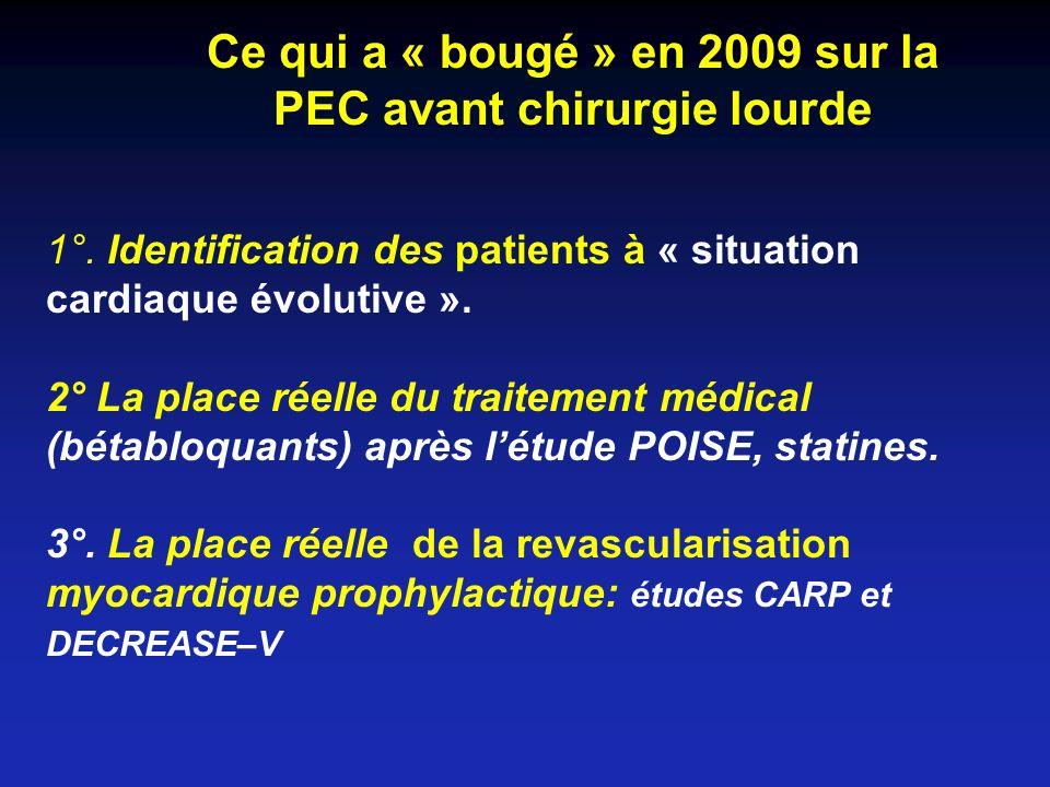 Coronary-Artery Revascularization before Vascular Surgery Létude CARP o5859 patients avant chirurgie vasculaire programmée (33% AAA, 67% artérite membres inférieurs) o510 patients (9%) à risque « augmenté » randomisés entre revascularisation coronaire préalable ou non (59% ATC, 41% PAC) oA 2.7ans le taux de mortalité est identique dans les 2 groupes (23%) oA 30 jours le taux de décès et IDM identique McFalls et al, New Engl J Med 2004