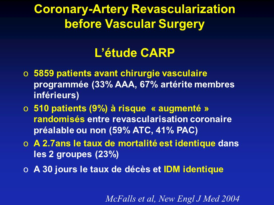 Coronary-Artery Revascularization before Vascular Surgery Létude CARP o5859 patients avant chirurgie vasculaire programmée (33% AAA, 67% artérite memb