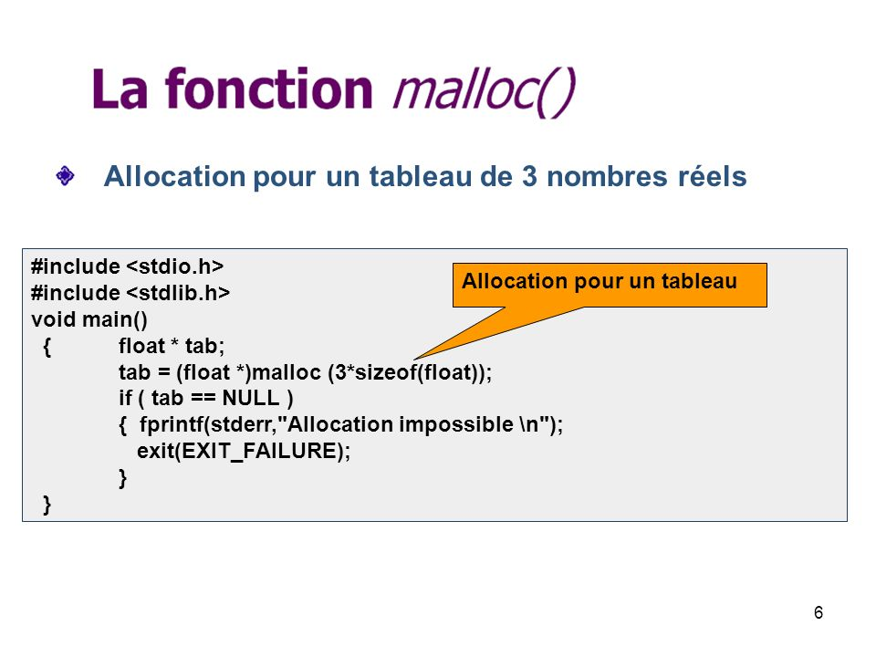 6 Allocation pour un tableau de 3 nombres réels #include void main() {float * tab; tab = (float *)malloc (3*sizeof(float)); if ( tab == NULL ) { fprintf(stderr, Allocation impossible \n ); exit(EXIT_FAILURE); } } Allocation pour un tableau
