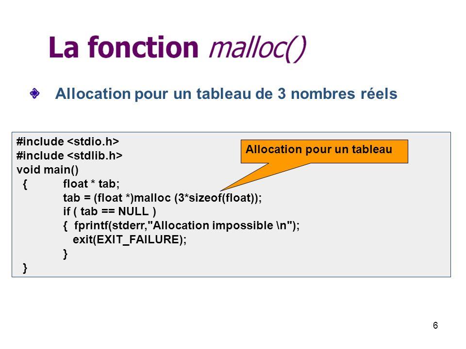 17 tab=(int *)realloc(tab, 4 * sizeof(int)); 2/2 tab[3]=4; for(i=0;i<4;i++) printf(tab[%d]=%d\n,i,tab[i]); } Ajout dun élément au tableau tab[0]=1 tab[1]=2 tab[2]=3 tab[3]=4 Initialisation Affichage du tableau