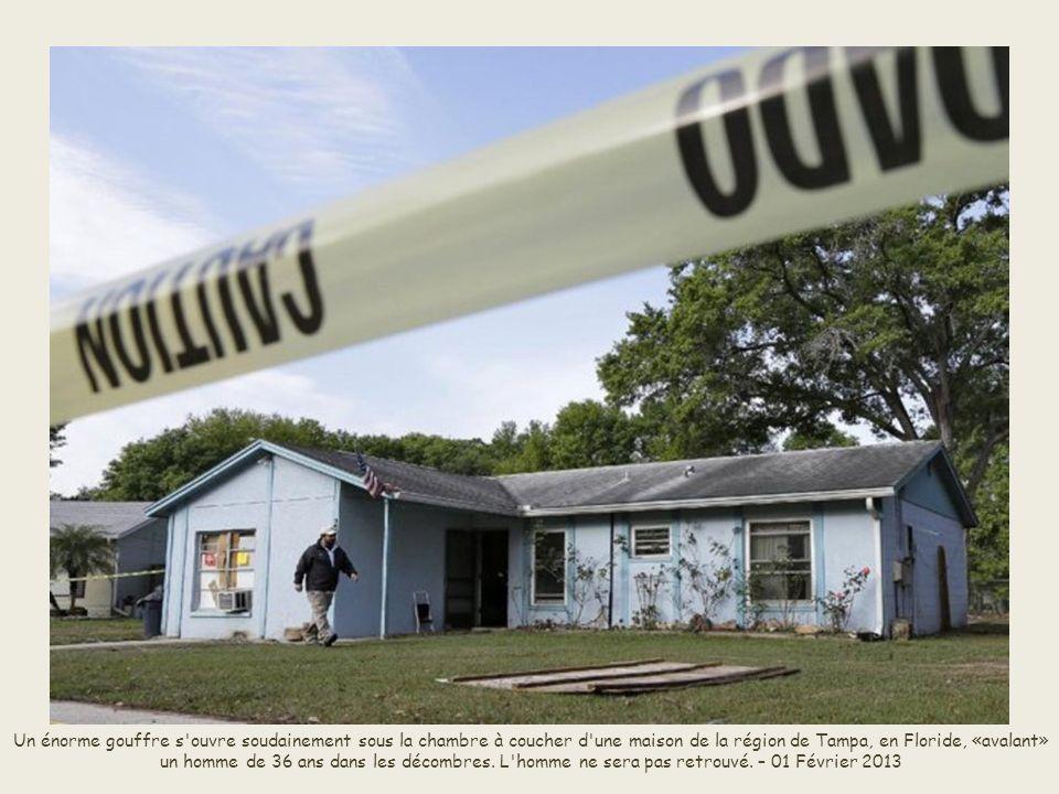 Jusqu au drame de Brandon, vendredi 01 Février 2013, dans la banlieue de Tampa en Floride, où un habitant d une maison a disparu après l ouverture d un trou géant sous l emplacement de sa chambre à coucher, les seuls cas mortels relevés en Floride en 40 ans étaient ceux de fermiers.