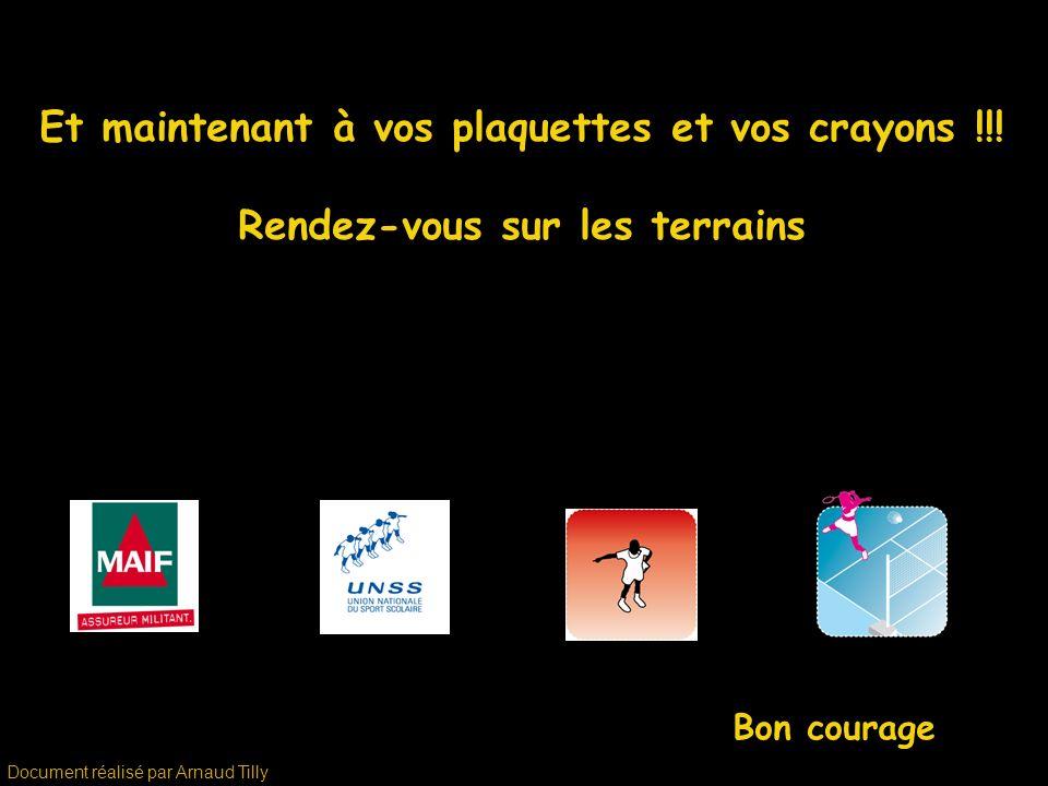 Et maintenant à vos plaquettes et vos crayons !!! Rendez-vous sur les terrains Bon courage Document réalisé par Arnaud Tilly