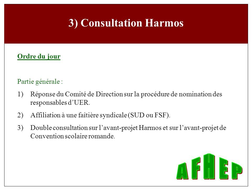 3) Consultation Harmos Ordre du jour Partie générale : 1) Réponse du Comité de Direction sur la procédure de nomination des responsables dUER.