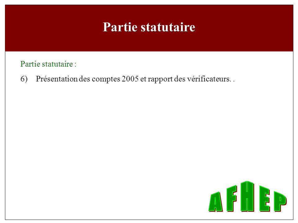 Partie statutaire Partie statutaire : 6)Présentation des comptes 2005 et rapport des vérificateurs..