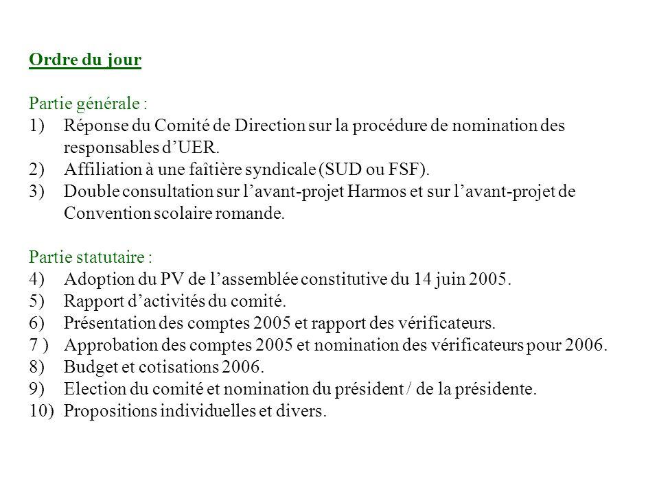Ordre du jour Partie générale : 1) Réponse du Comité de Direction sur la procédure de nomination des responsables dUER.