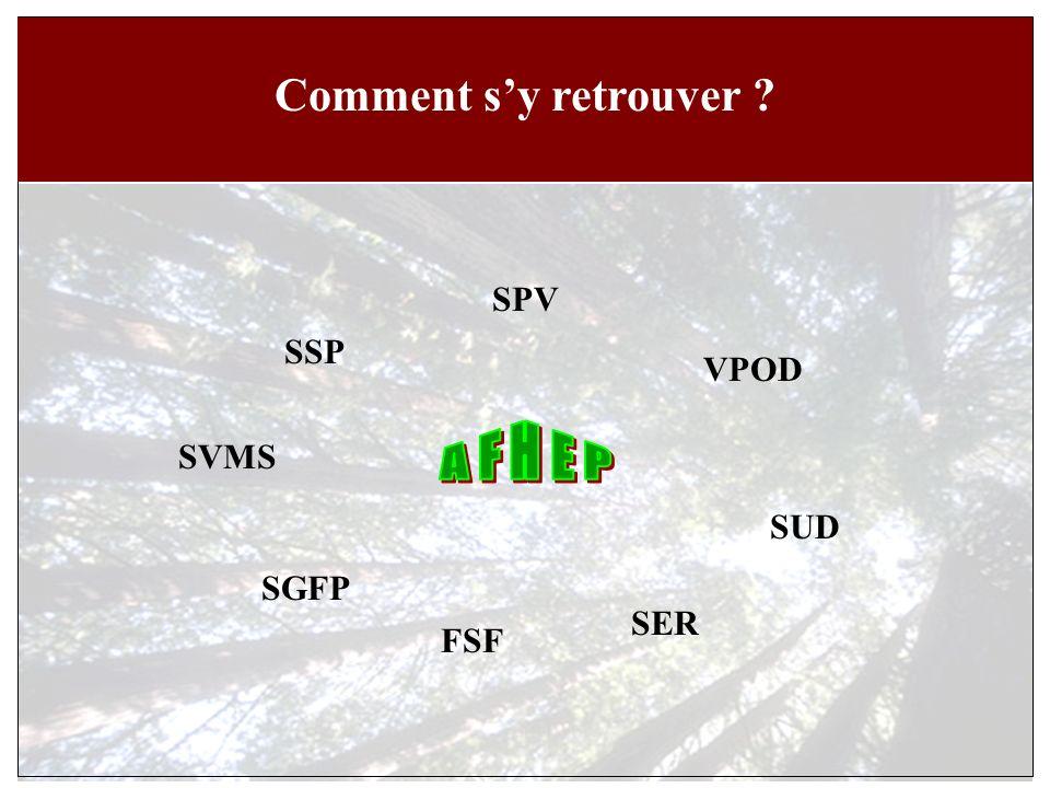 Comment sy retrouver SSP SUD SVMS SPV FSF VPOD SGFP SER
