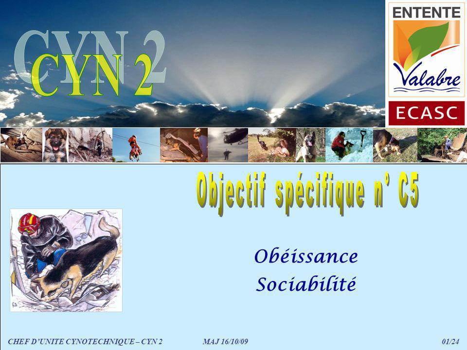 Sociabilité avec plusieurs chiens CHEF DUNITE CYNOTECHNIQUE – CYN 2 MAJ 16/10/09 22/24