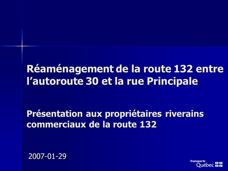 Réaménagement de la route 132 entre lautoroute 30 et la rue Principale Présentation aux propriétaires riverains commerciaux de la route 132 2007-01-29