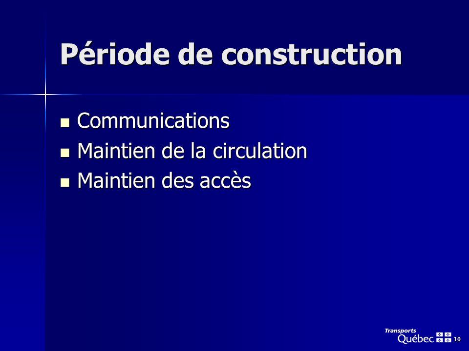 10 Période de construction Communications Communications Maintien de la circulation Maintien de la circulation Maintien des accès Maintien des accès