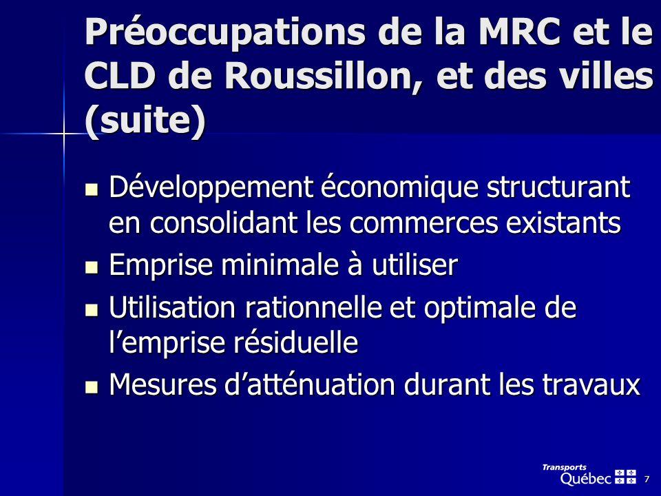 7 Préoccupations de la MRC et le CLD de Roussillon, et des villes (suite) Développement économique structurant en consolidant les commerces existants Développement économique structurant en consolidant les commerces existants Emprise minimale à utiliser Emprise minimale à utiliser Utilisation rationnelle et optimale de lemprise résiduelle Utilisation rationnelle et optimale de lemprise résiduelle Mesures datténuation durant les travaux Mesures datténuation durant les travaux