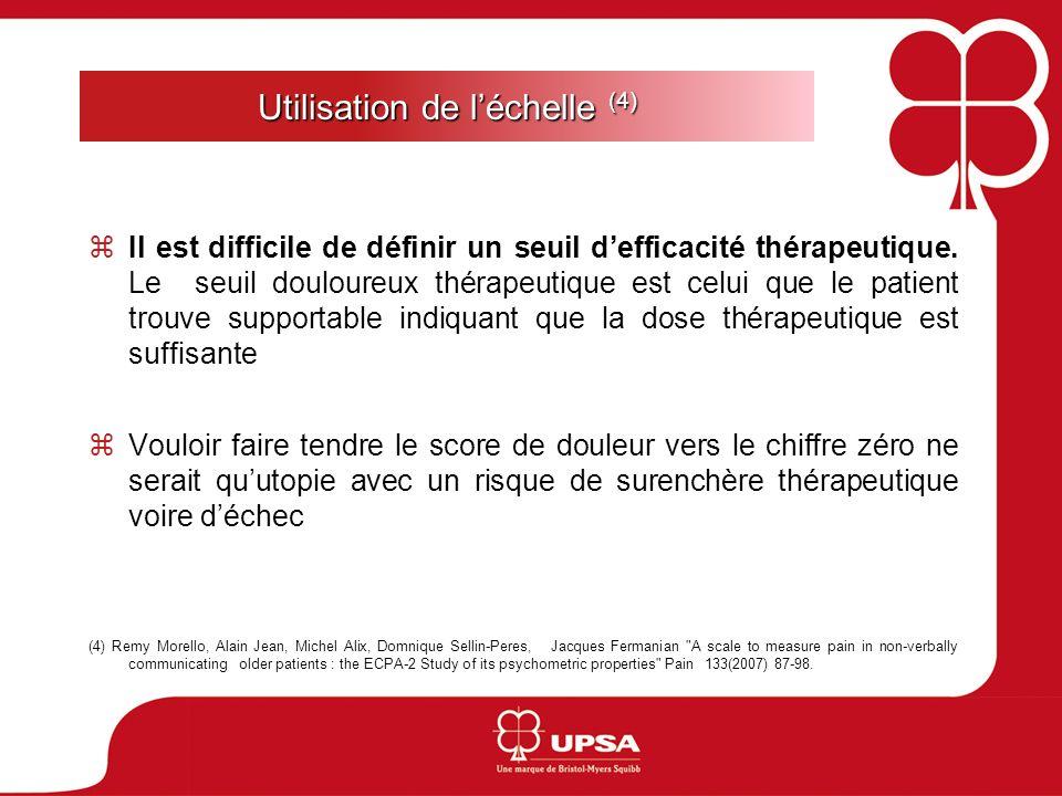 Utilisation de léchelle (4) Il est difficile de définir un seuil defficacité thérapeutique. Le seuil douloureux thérapeutique est celui que le patient