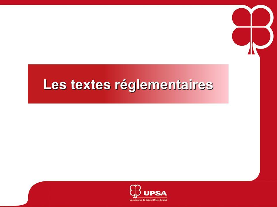 Les textes réglementaires