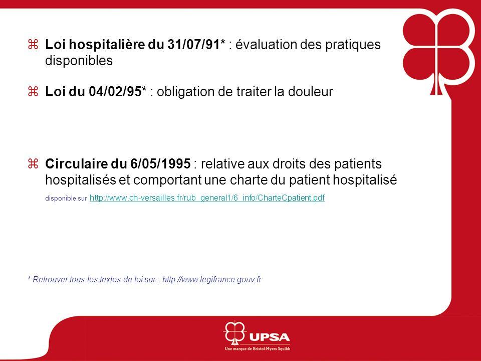 Circulaire du 11/02/1999 : relative à la mise en place des protocoles de prise en charge de la douleur aiguë disponible sur http ://www.sante.gouv.fr/htm/pointsur/douleur/6-reglementa/611-circ9984.htm#hauthttp ://www.sante.gouv.fr/htm/pointsur/douleur/6-reglementa/611-circ9984.htm#haut Décret du 11/02/2002* : actes professionnels et lexercice de la profession dinfirmier Loi du 4/03/2002* : « la douleur doit être en toute circonstance prévenue, évaluée, prise en compte et traitée » Plan gouvernemental 2006/2010 : un des axes prioritaires « lamélioration de la prise en charge des personnes les plus vulnérables (enfants, personnes âgées et en fin de vie) » disponible sur http://www.sante.gouv.fr/htm/dossiers/prog_douleur/sommaire.htm http://www.sante.gouv.fr/htm/dossiers/prog_douleur/sommaire.htm * Retrouver tous les textes de loi sur : http://www.legifrance.gouv.fr