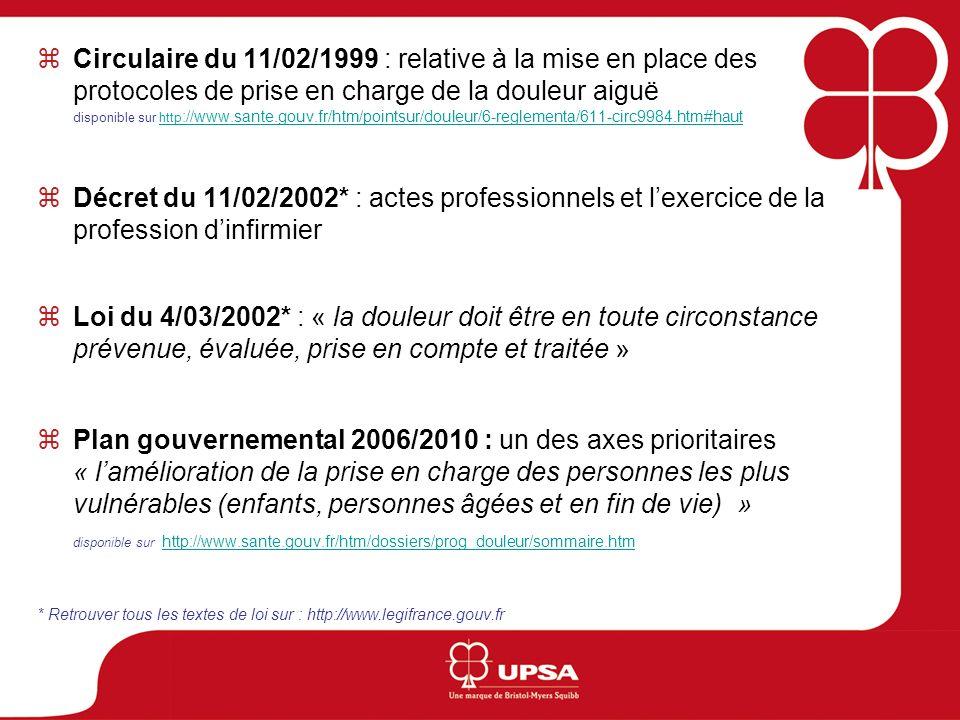 Circulaire du 11/02/1999 : relative à la mise en place des protocoles de prise en charge de la douleur aiguë disponible sur http ://www.sante.gouv.fr/