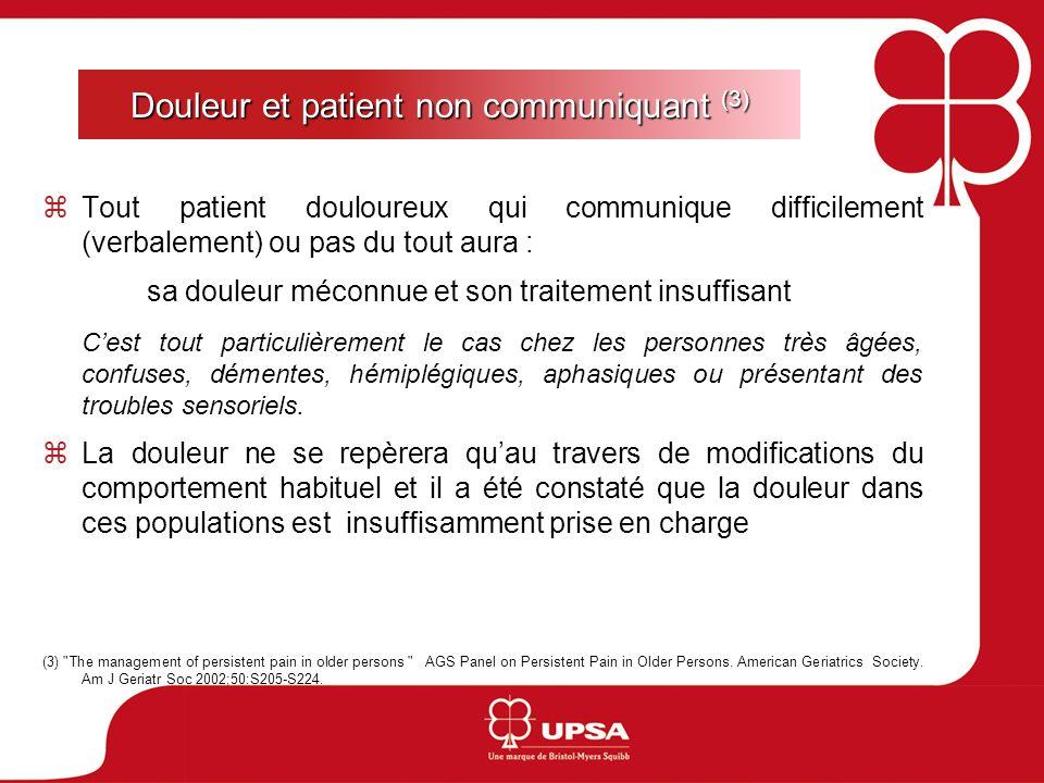 Douleur et patient non communiquant (3) Tout patient douloureux qui communique difficilement (verbalement) ou pas du tout aura : sa douleur méconnue e